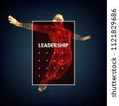 leadership concept. jumping man.... | Shutterstock .eps vector #1121829686