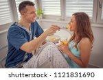 happy  loving  couple  spending ... | Shutterstock . vector #1121831690