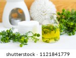 small glass bottle with... | Shutterstock . vector #1121841779