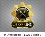 gold badge with crossed swords ...   Shutterstock .eps vector #1121845859