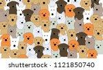colorful dog doodles vector.... | Shutterstock .eps vector #1121850740
