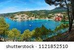 the harbor of assos in... | Shutterstock . vector #1121852510