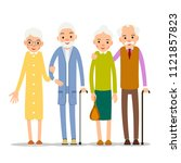 couple older people. two aged...   Shutterstock .eps vector #1121857823