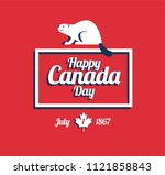 happy canada day greeting card  ... | Shutterstock .eps vector #1121858843