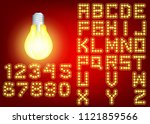 neon city color yellow font.... | Shutterstock .eps vector #1121859566