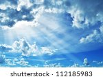 blue sky with clouds and sun. | Shutterstock . vector #112185983