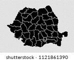 romania map   high detailed... | Shutterstock .eps vector #1121861390
