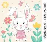easter card with cute rabbit... | Shutterstock .eps vector #1121897606