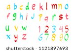 hand drawn colorful alphabet... | Shutterstock . vector #1121897693
