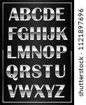 chrome metal shiny letters... | Shutterstock . vector #1121897696