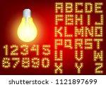 neon city color yellow font.... | Shutterstock . vector #1121897699