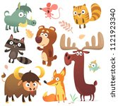 cartoon forest animal... | Shutterstock .eps vector #1121923340