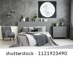 moon art decor on the wall in a ... | Shutterstock . vector #1121923490