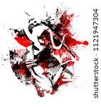 girl samurai in a decisive jump | Shutterstock . vector #1121947304