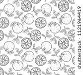 doodle pattern orange fruit ... | Shutterstock .eps vector #1121964419