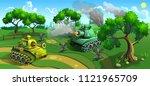 battle of tanks in forest....   Shutterstock .eps vector #1121965709
