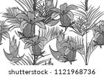 kentia leaves and exotic... | Shutterstock .eps vector #1121968736