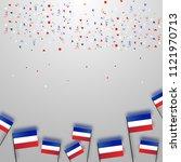tricolor french flag flying... | Shutterstock .eps vector #1121970713