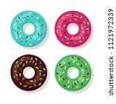 set of cartoon sweet donuts... | Shutterstock . vector #1121972339