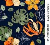 retro wild seamless flower...   Shutterstock .eps vector #1121984093