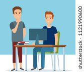 young boys in the workplace...   Shutterstock .eps vector #1121990600