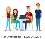 group of young people in the... | Shutterstock .eps vector #1121991236