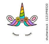 cute unicorn face. design for t ... | Shutterstock .eps vector #1121998520