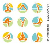 yoga icons on round colorful... | Shutterstock .eps vector #1122009794