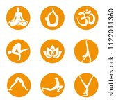 yoga icons on round background.... | Shutterstock .eps vector #1122011360