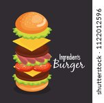 delicious big burger fast food | Shutterstock .eps vector #1122012596