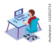 workplace scene with worker... | Shutterstock .eps vector #1122012713