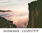 traveler man standing on the... | Shutterstock . vector #1122017579