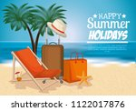 beach with summer holidays icons | Shutterstock .eps vector #1122017876