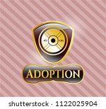 gold badge with weightlifting... | Shutterstock .eps vector #1122025904