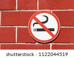 sign of stop smoking nicotine... | Shutterstock . vector #1122044519