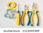 the workplace of an electrician ...   Shutterstock . vector #1122045389