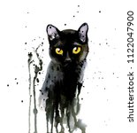 Stock photo black cat ink and watercolor illustration 1122047900