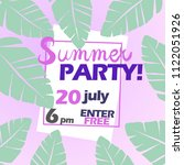 summer party poster with text.... | Shutterstock .eps vector #1122051926