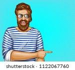 vector pop art brown haired man ...   Shutterstock .eps vector #1122067760