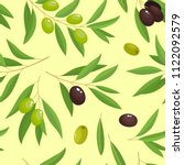 branches green and black olives ... | Shutterstock .eps vector #1122092579
