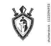 military symbol on shield  icon.   Shutterstock . vector #1122096953