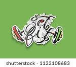 get fit text  sticker of rod... | Shutterstock .eps vector #1122108683
