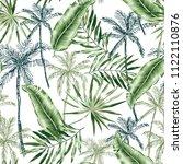 green banana  palm trees ... | Shutterstock .eps vector #1122110876