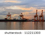 operation of crane and cargo... | Shutterstock . vector #112211303
