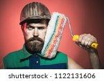 painter man. room painting job. ... | Shutterstock . vector #1122131606
