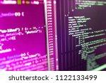 abstract computer script code.... | Shutterstock . vector #1122133499