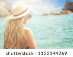 fashion woman in summer hat... | Shutterstock . vector #1122144269