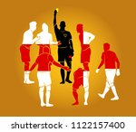 soccer referee yellow red cards  | Shutterstock .eps vector #1122157400