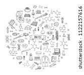 hand drawn doodle dna test... | Shutterstock .eps vector #1122157616