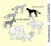 zoo animals background. hand... | Shutterstock . vector #1122183803